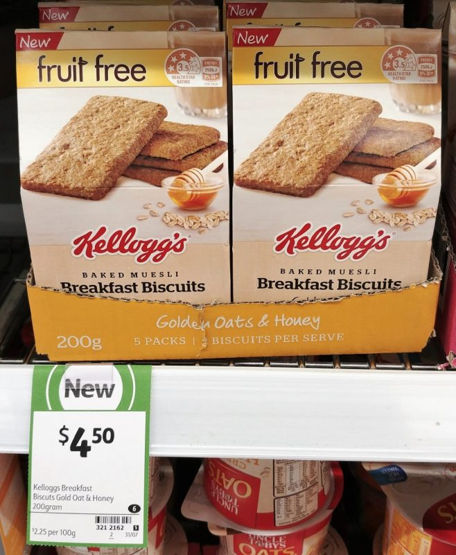 Kellogg's 200g Breakfast Biscuits Baked Muesli Golden Oats & Honey