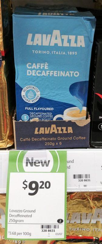 Lavazza 250g Ground Coffee Caffe Decaffeinato