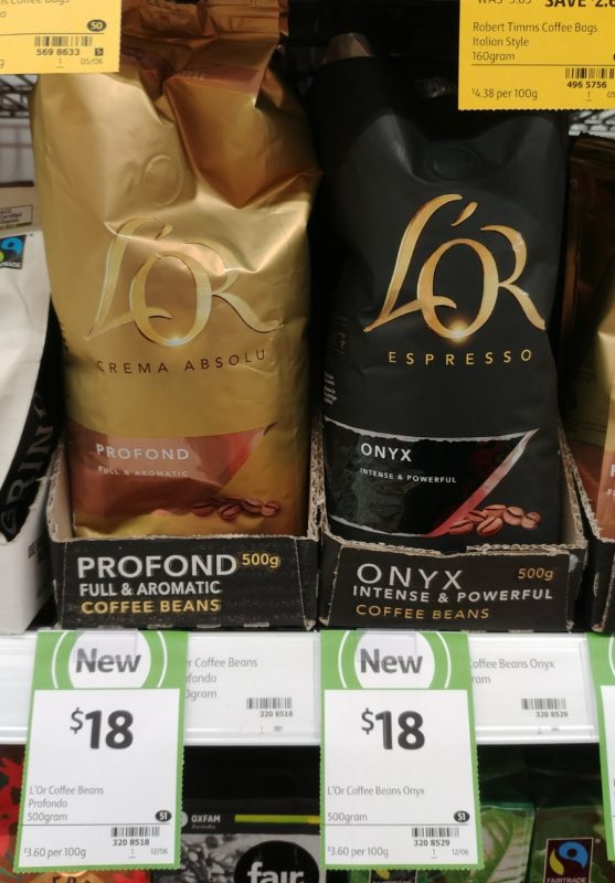 L'or 500g Coffee Beans Profond, Onyx