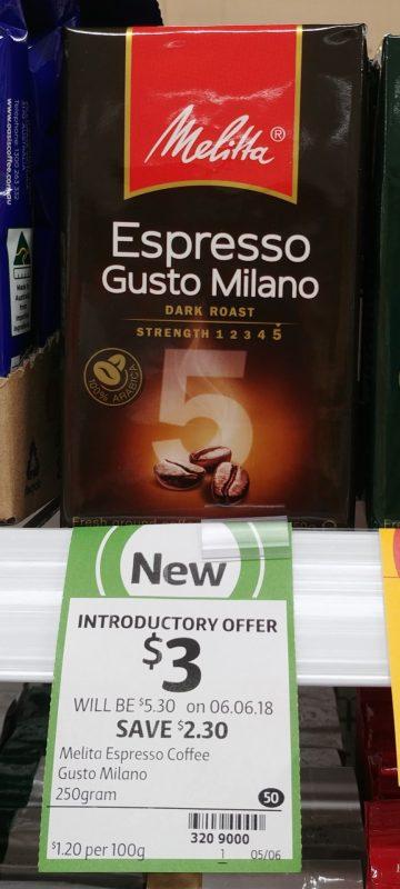 Melita 250g Coffee Espresso Gusto Milano Dark Roast