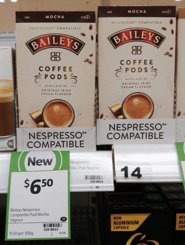 Nespresso 50g Baileys Coffee Pods Mocha