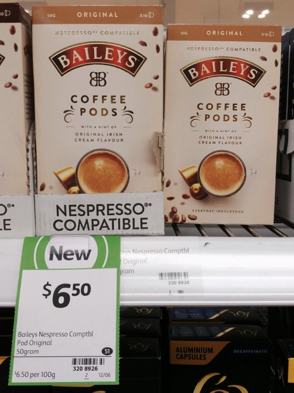 Nespresso 50g Baileys Coffee Pods Original