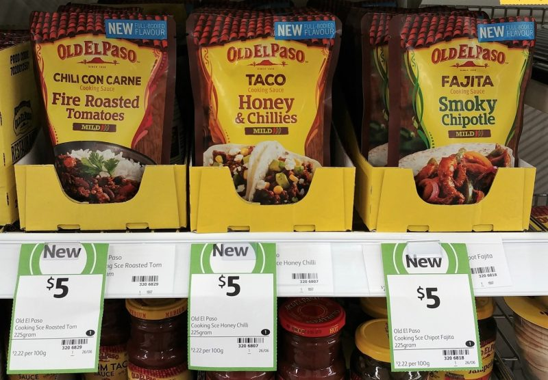 Old El Paso 225g Cooking Sauce Chili Con Carne Fire Roasted Tomatoes, Taco Honey & Chillies, Fajita Smoky Chipotle