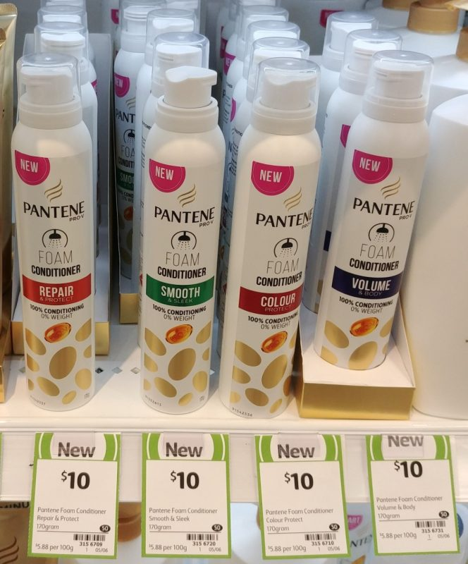 Pantene 170g Foam Conditioner Repair & Protect, Smooth & Sleek, Colour Protect, Volume & Body