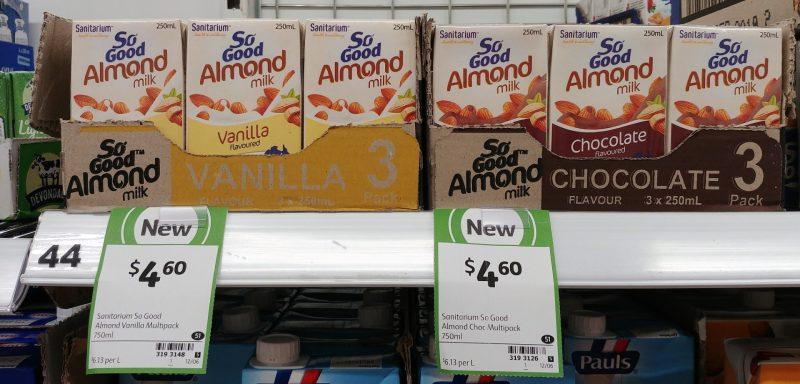 Sanitarium 3 X 250mL Almond Milk Flavoured Vanilla, Chocolate