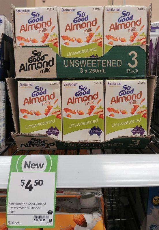 Sanitarium 3 X 250mL Almond Milk Unsweetened