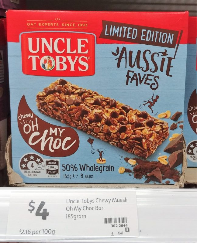 Uncle Tobys 185g Muesli Bar Aussie Faves Limited Edition Chewy Oh My Choc