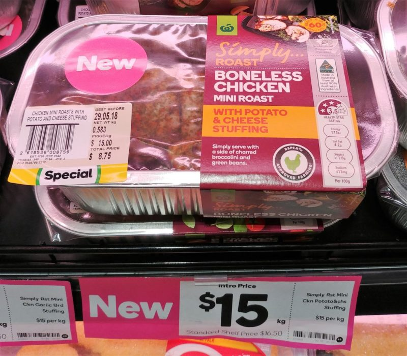 Woolworths $15 Kg Simply Roast Boneless Chicken Mini Roast With Potato & Cheese Stuffing