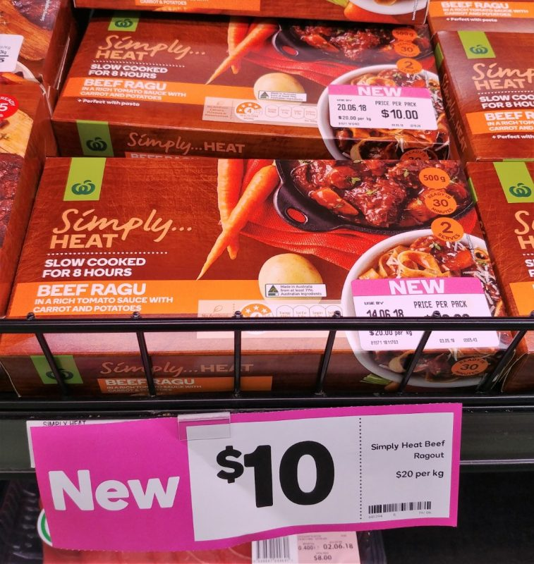 Woolworths $20 Kg Simply Heat Beef Ragu In A Rich Tomato Sauce With Carrot And Potatoes