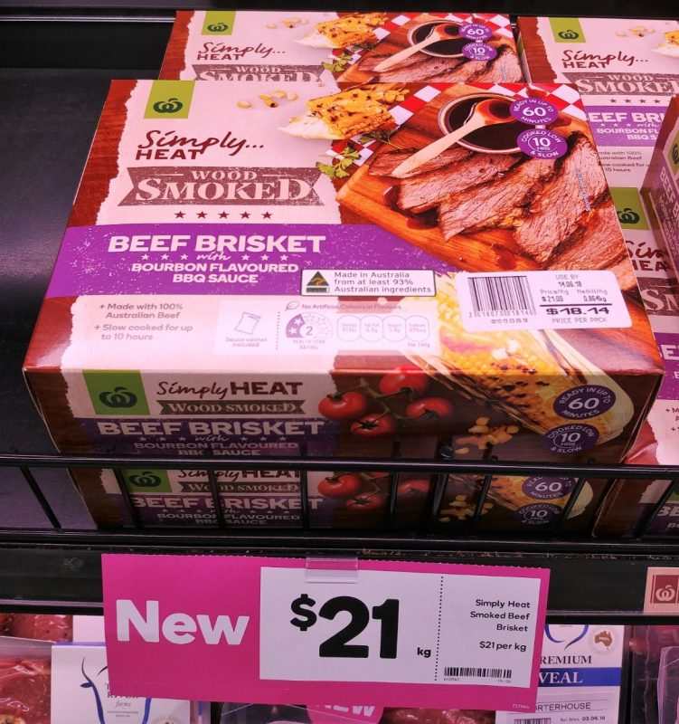 Woolworths $21 Kg Simply Heat Beef Brisket With Bourbon Flavoured BBQ Sauce
