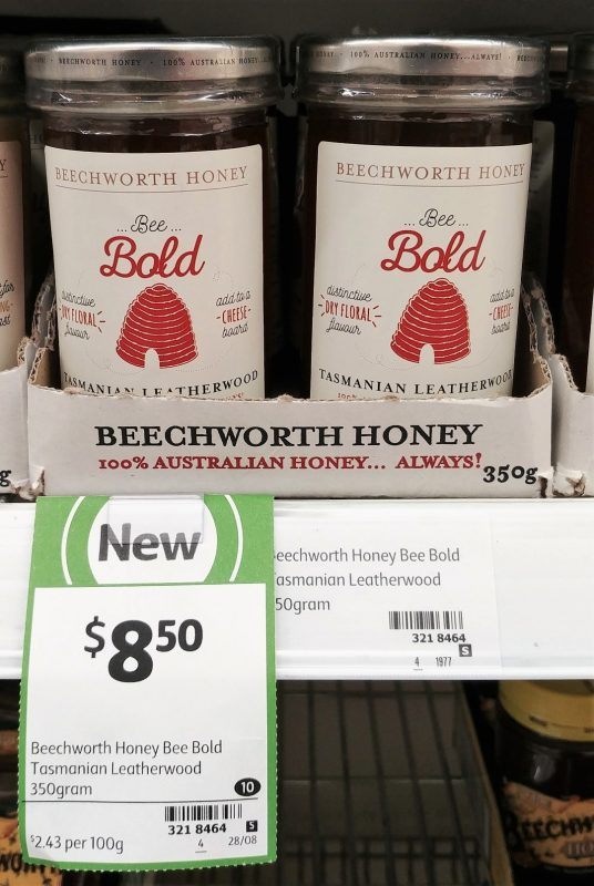Beechworth Honey 350g Honey Bee Bold Tasmanian Leatherwood