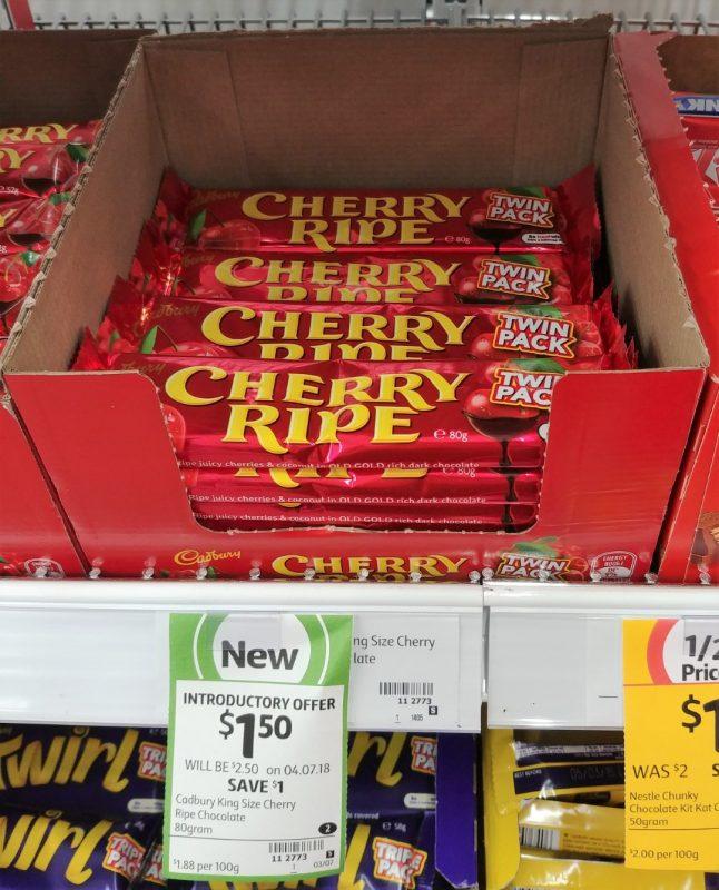 Cadbury 80g Cherry Ripe Twin Pack