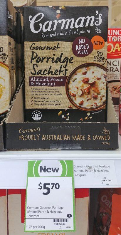 Carman's 320g Gourmet Porridge Sachets Almond, Pecan & Hazelnut