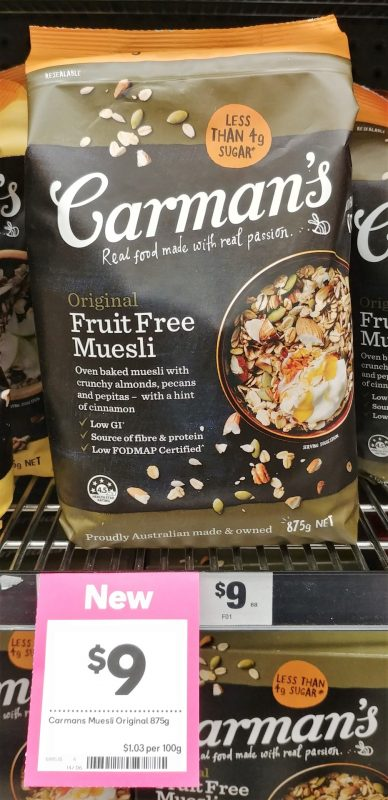 Carman's 875g Fruit Free Muesli Original