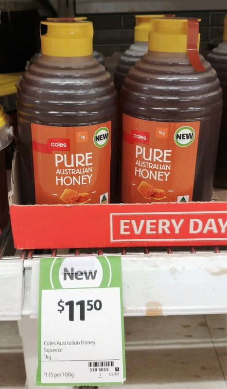 Coles 1kg Pure Australian Honey