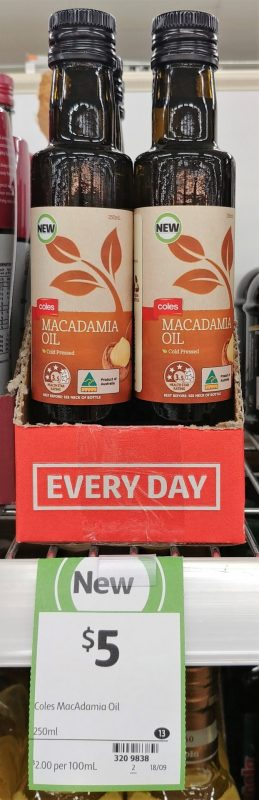 Coles 250mL Macadamia Oil