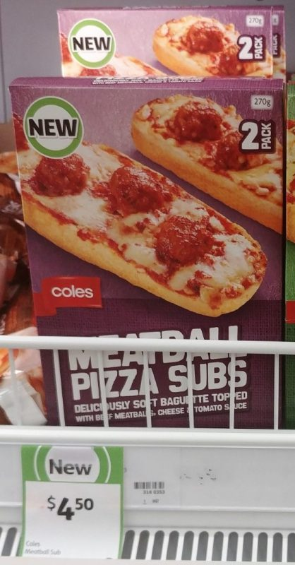Coles 270g Pizza Subs Meatball