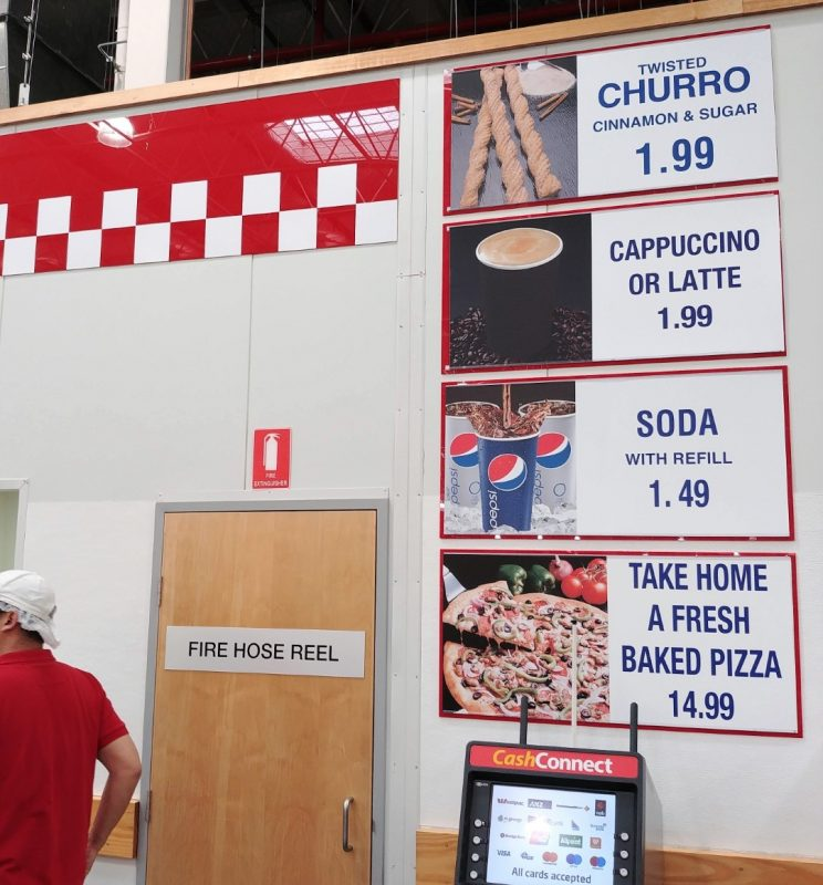 Costco Foodcourt Menu Board Side Panel Australia