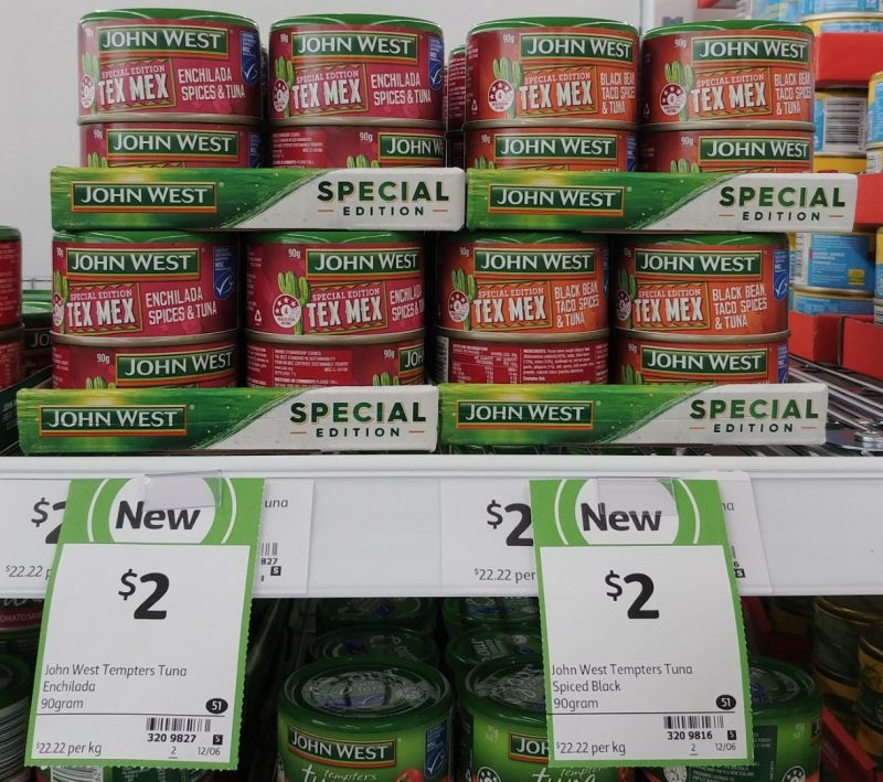 John West 90g Special Edition Tex Mex Enchilada Spices & Tuna, Black Bean Taco Spices & Tuna