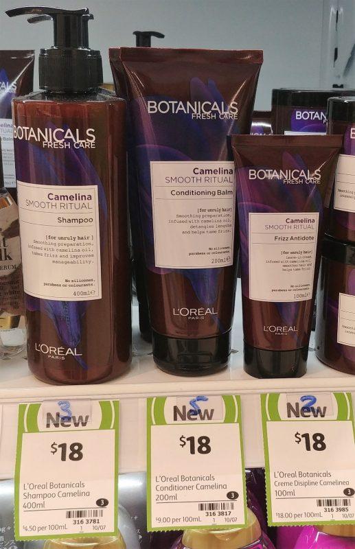 L'Oreal 400mL Botanicals Camelina Shampoo, 200mL Conditioning Balm, 100mL Frizz Antidote