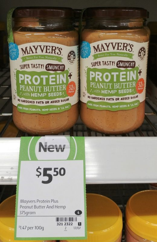 Mayver's 375g Protein + Peanut Butter With Hemp Seeds