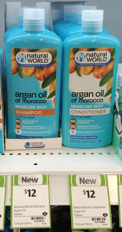 Natural World 500mL Argan Oil Of Morocco Shampoo, Conditioner