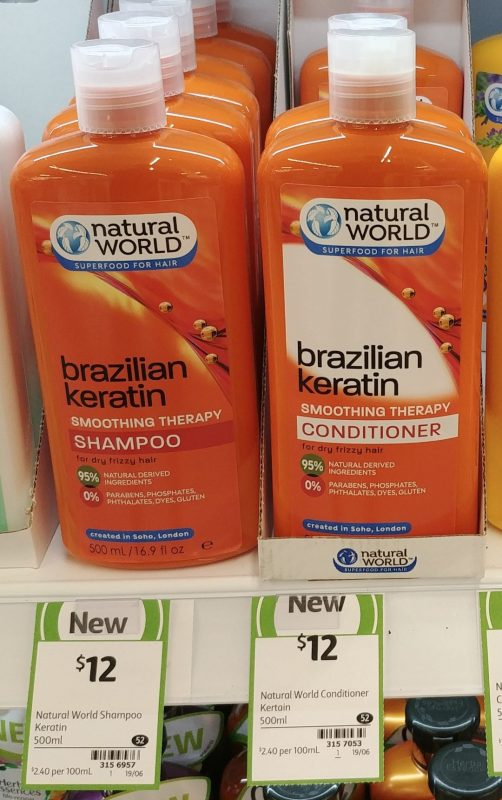 Natural World 500mL Brazilian Keratin Shampoo, Conditioner