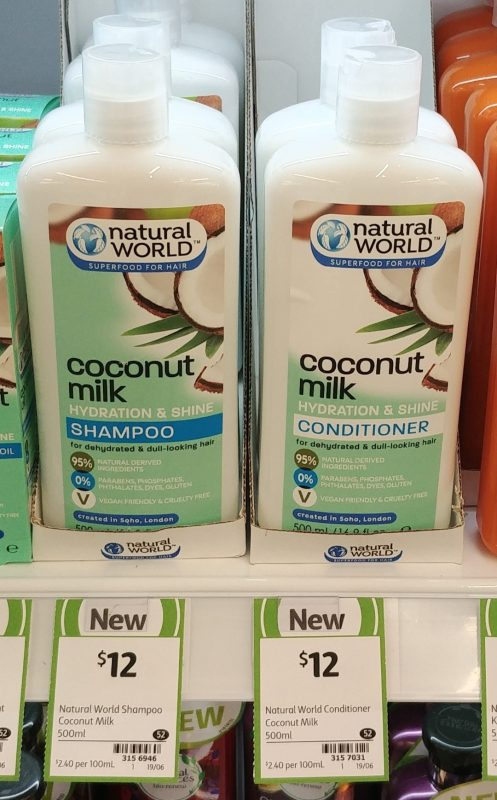 Natural World 500mL Coconut Milk Shampoo, Conditioner