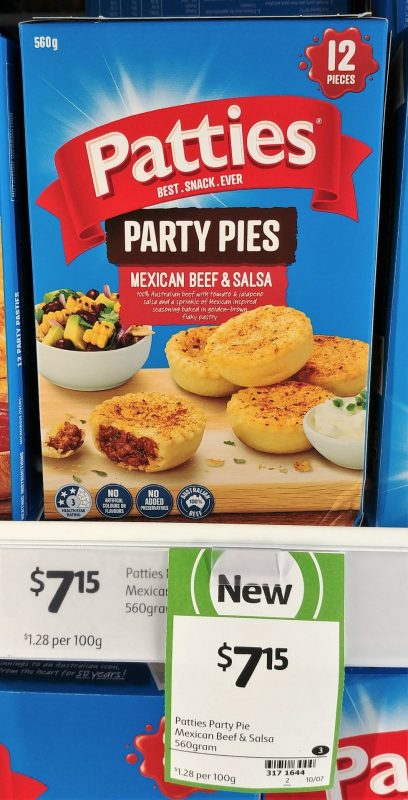Patties 560g Party Pies Mexican Beef & Salsa