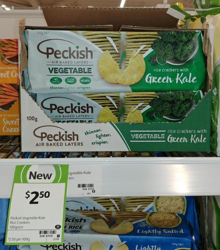 Peckish 100g Rice Cracker Vegetable Green Kale
