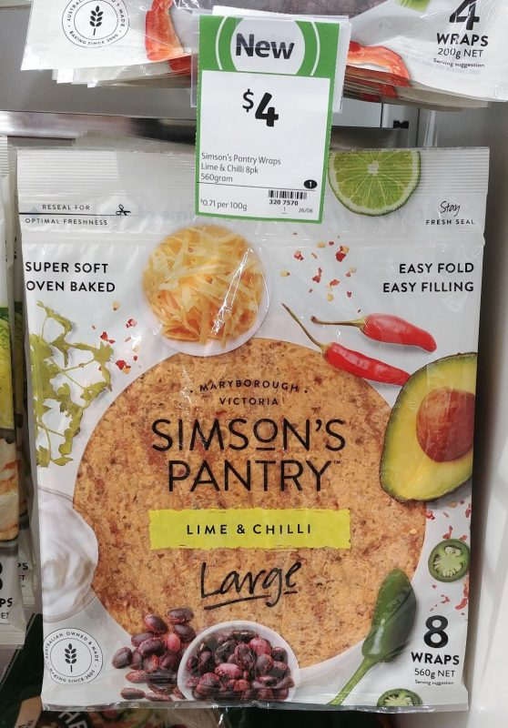 Simson's Pantry 560g Wraps Large Lime & Chilli