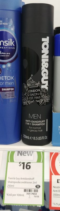 Toni & Guy 250mL Anti Dandruff 2 In 1 Shampoo Men