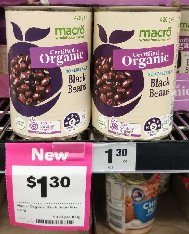 Woolworths 420g Macro Organic Black Beans