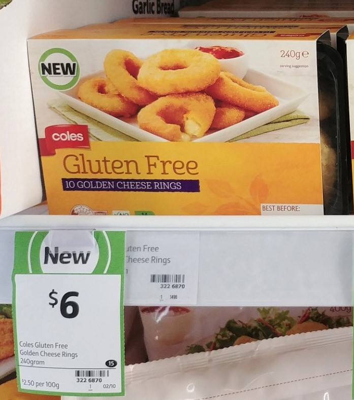 Coles 240g Gluten Free Cheese Rings Golden
