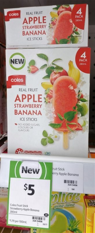 Coles 280mL Ice Sticks Apple, Strawberry, Banana