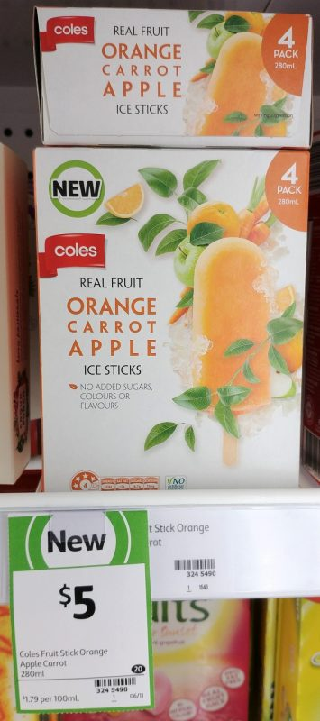 Coles 280mL Ice Sticks Orange, Carrat, Apple