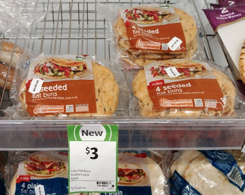 Coles 4 Pack Flat Buns 4 Seeded