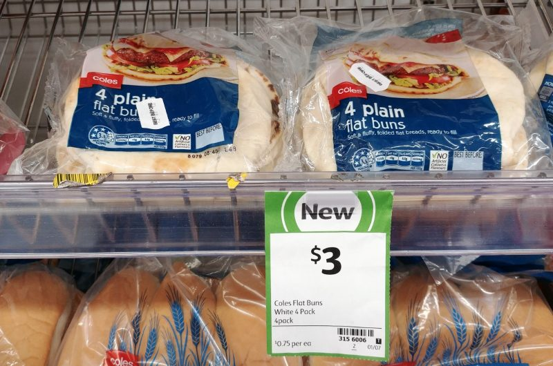 Coles 4 Pack Flat Buns White