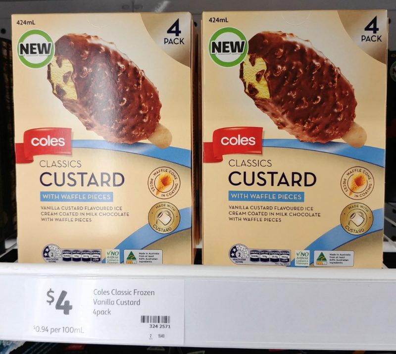 Coles 424mL Ice Cream Classics Custard With Waffle Pieces