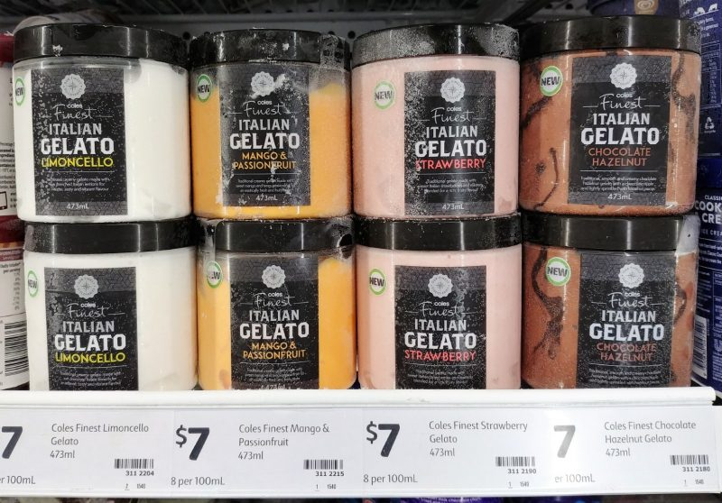 Coles 473mL Finest Gelato Italian Limoncello, Mango & Passionfruit, Strawberry, Chocolate Hazelnut
