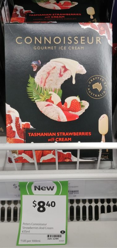 Connoisseur 455mL Ice Cream Tasmanian Strawberries With Cream