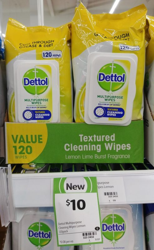 Dettol 120 Pack Cleaning Wipes Textured Lemon