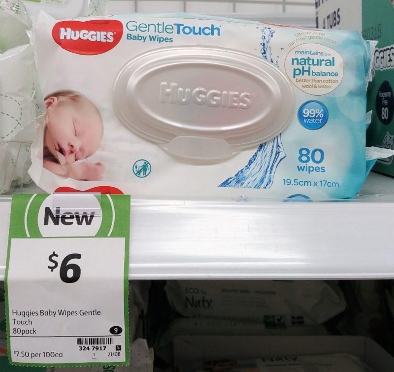 Huggies 80 Pack Baby Wipes Gentle