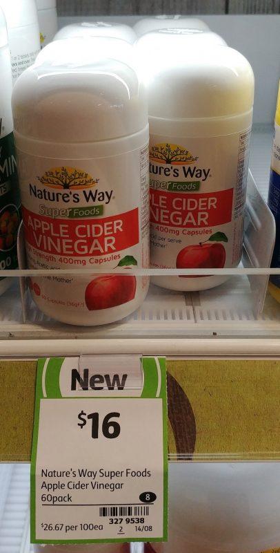 Nature's Way 60 Pack Capsules Apple Cider Vinegar