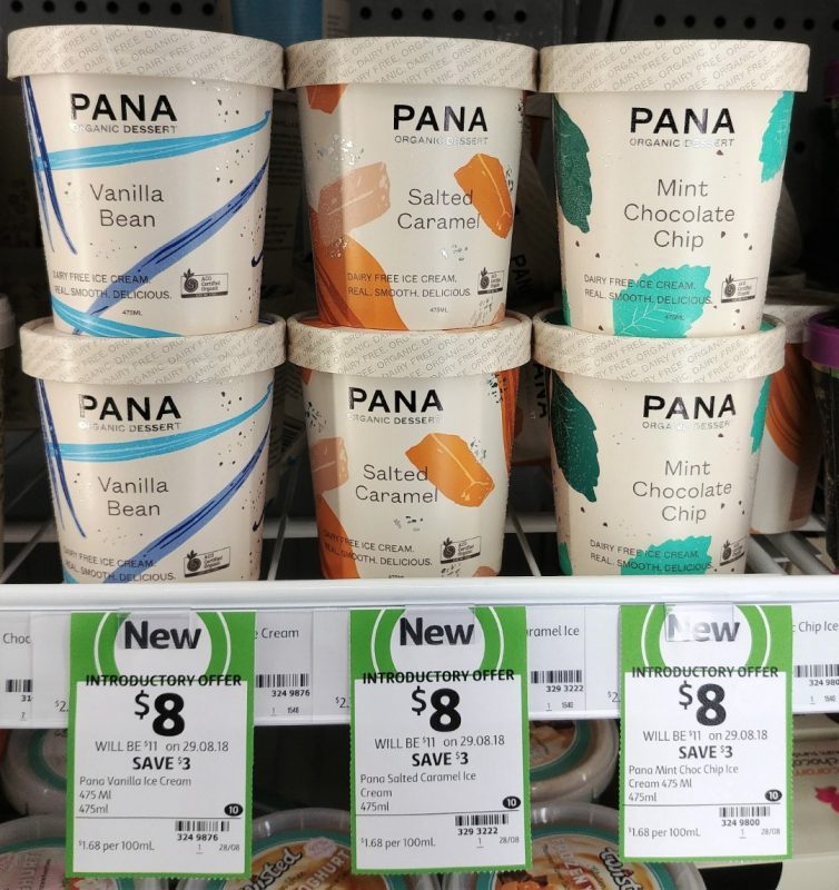 Pana 475mL Dairy Free Ice Cream Vanilla Bean, Salted Caramel, Mint Chocolate Chip