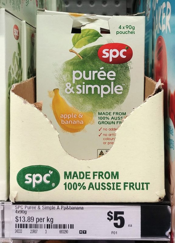 SPC 360g Puree & Simple Apple & Banana