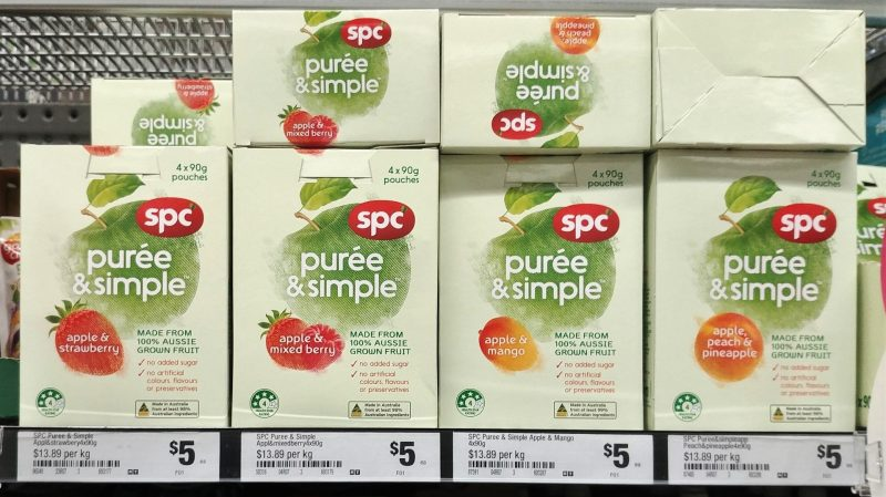 SPC 360g Puree & Simple Apple & Strawberry, Apple & Mixed Berry, Apple & Mango, Apple Peach & Pineapple