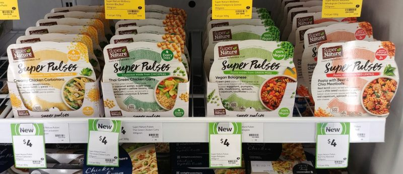 Super Nature 300g Super Pulses Creamy Chicken Carabonara, Cousous Chickpeas, Pasta Green Peas, Pasta Red Lentils