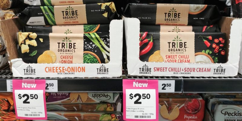 Tribe Organics 100g Rice Crackers Cheese & Onion, Sweet Chilli & Sour Cream