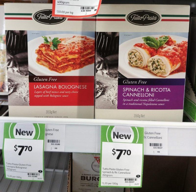 Tutto 350g Gluten Free Lasagna Bolognese, Spinach & Ricotta Cannelloni